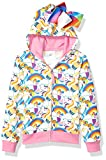 JoJo Siwa Girls' Little Unicorns & Rainbows All Over Print Zip Up Hoodie with Bow, White/Pink, X-Large-16
