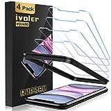 [4 Unidades] iVoler Protector de Pantalla para iPhone XR/iPhone 11 con Ayuda de posicionamiento, Cristal Vidrio Templado Premium [9H Dureza] [Alta Definicion 0.3mm] [2.5D Round Edge] - Transparente