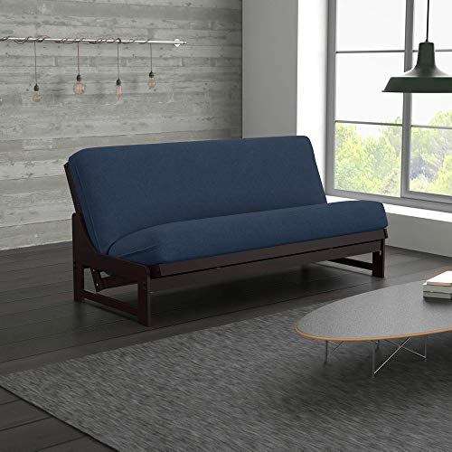 Uptown Urban Loft Linen Series Sofa Bed Collection by Nirvana Futons - Queen Size Dark Espresso Arden Futon Frame, Mattress and Umax Khaki Futon Cover Set