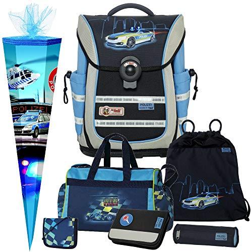 Polizei - Police - McNeill Ergo Light Pure mit Blinklicht Schulranzen-Set 7tlg. mit Sporttasche, BRUSTBEUTEL und SCHULTÜTE