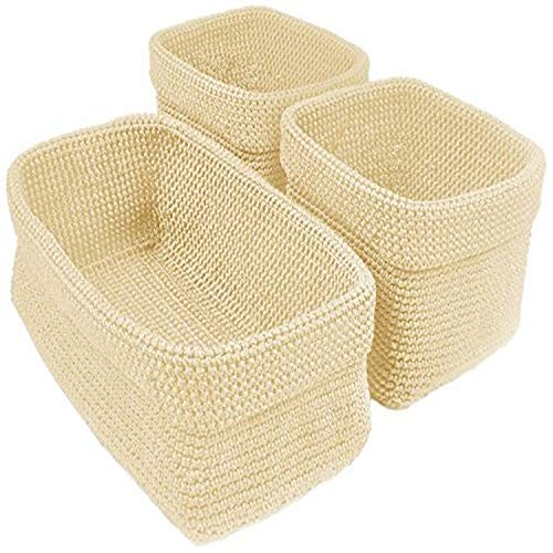 DII Home Essentials Hand Crocheted Storage Baskets for Drawers, Closets, Bathrooms, Kitchen, Organization, Food and More Set of 3, Cream