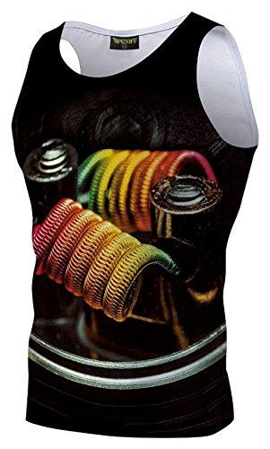 XiYang Herren Gym Sport Fitness Mcfit Trainingsshirt Muskelshirt T-Shirt Tank mit Animation Karikatur Muster Y1783-45-XXL