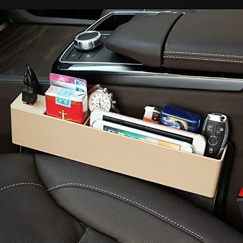 Bolsillo de red para coche Coche universal de múltiples funciones del cargador de la consola de bolsillo lateral del asiento hueco lateral Caja de almacenamiento de 2 puertos USB, for la mayoría de lo