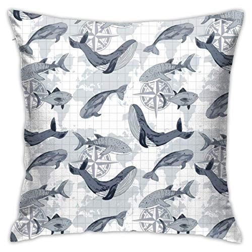 NA Funda de Almohada de Animales del océano en Peligro de extinción, Almohada Suave, Funda de Almohada de sofá de impresión Digital de Doble Cara