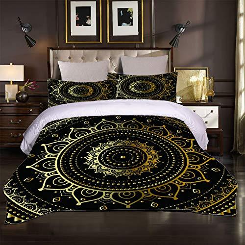 XTiFound Sängkläder Gyllene Mandala Blomma Påslakanset För Sängar 1X Täcke + 2X Örngott - 100 Polyesterbomull, Blixtlås, Mikrofiber, Sovrumsdekorationer För Pojkar Och Flickor 200X200Cm