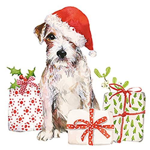 Servietten (2er Set / 40Stück) 3-lagig 33x33cm Xmas Weihnachten Hund mit Weihnachtsmütze Foxterrier