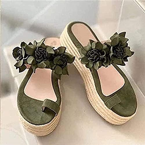 CHLDDHC Sandalias De Dedo del Pie con Conjunto De Flores Dulces Y Zapatillas Zapatillas De Plataforma De Cuerda De Cáñamo para Mujer