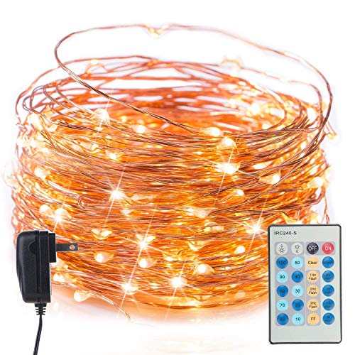 Twinkle Fairy String Lights with Remote, 40Ft. 120 LED Copper Wire Firefly Lights for Bedroom Wedding Gathering Party Christmas DIY Decoration, Warm White