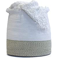 Flicker Moon 17 x 17 Inch Large Woven Rope Basket with Handles