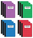 Quad Ruled Composition Book Notebook, 12 Pack, Hardcover 4x4 Graph Ruled Paper, 80 Sheets, 9.75' x 7.5', by Better Office Products, Assorted Color Covers, 12 Pack