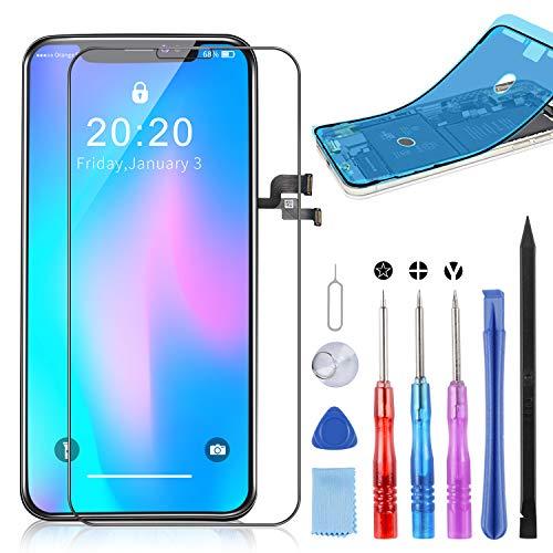 YPLANG LCD Screen Ricambio per iPhone X Display, 3D Touch Screen Digitizer con Kit Completo di Riparazione, con Vetro temprato, Diagramma di Riparazione, Scheda con Viti magnetiche