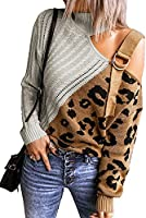 Asvivid Womens Long Sleeve Cold Shoulder Turtleneck Knit Sweater Tops Pullover Casual Loose Jumper Sweaters