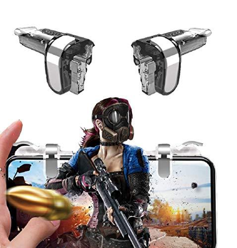 PAKEY PUBG móvil spelkontroll, skjuthjälpknapp, móvil, móvil speljoystick para 4-6,5 para Android y teléfono inteligente (Negro)