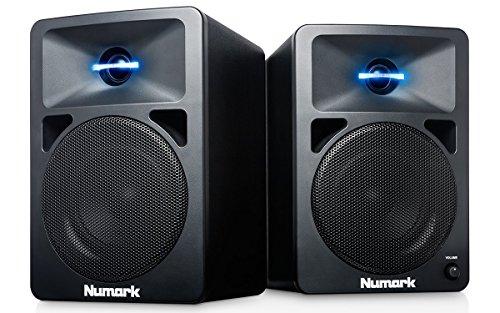 Numark N-Wave 360 - Casse PC Monitor da Tavolo Full Range per DJ, 60 Watt, Tweeter Illuminati LED, Controllo di Volume, Ingressi RCA e Facile Connettività