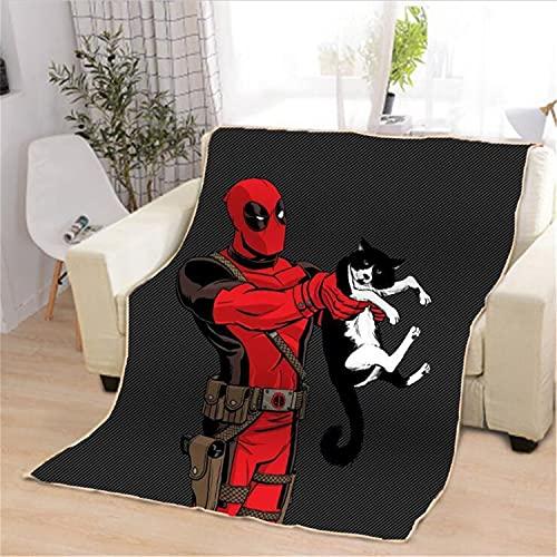 Proxiceen Deadpool, coperta in flanella di microfibra, con stampa digitale, coperta in morbida flanella, regalo per divano, ufficio (A3,102 x 127 cm)