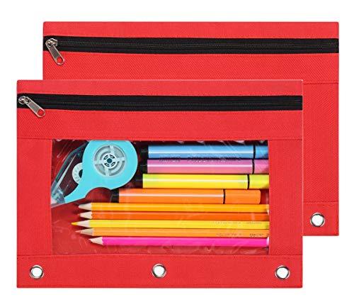 LaOficina - Portamatite a 3 anelli, con cerniera, ideale per la scuola, 2 confezioni Misura unica Red