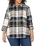 Dickies Women's Long-Sleeve Flannel Shirt, Black White Plaid, Small