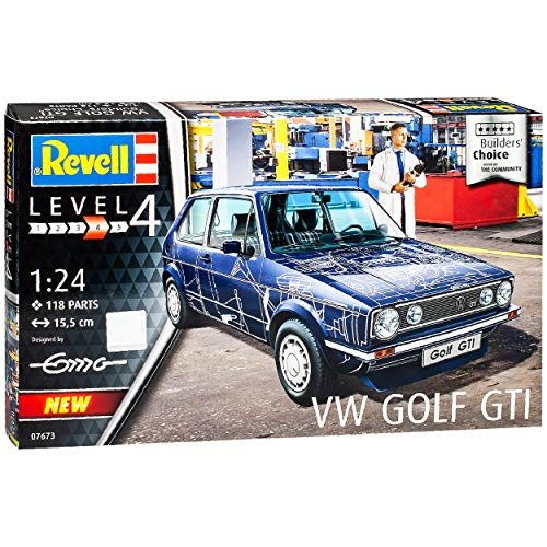 NEW Volkwagen Golf I 1 G-T-I 3 Türer Blau Builders Choice 1974-1983 07673 Bausatz Kit 1/24 Revell Modell Auto mit individiuellem Wunschkennzeichen