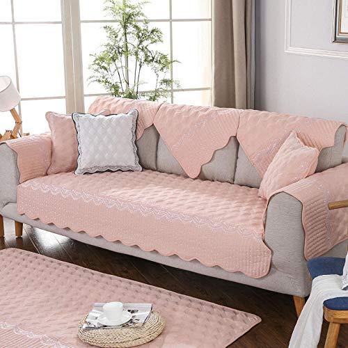 YUTJK Durable Cubre Sofá,Cojines de sofá Bordados en Relieve,Toallas de algodón Antideslizantes para el Respaldo,Cojines para sillas,Alfombrillas de Alfombra-Pink_90*160cm
