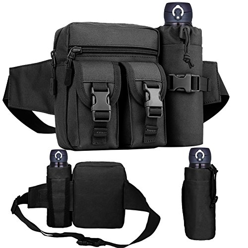 Tactical Waist Bag with Water Bottle Pouch, Waterproof Bum Bag Military Utility Belt Canvas Fanny Pack Bumbag for Trekking Hiking Walking Bike Cycling Climbing Outdoor Traveling Jogging Running, Black