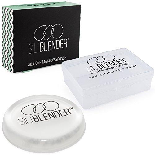 SILIBLENDER – éponges de maquillage en silicone avec boîte de rangement – Silicone 100% réel – Pour un maquillage impeccable – Hygiénique et facile à nettoyer – Sans aucune perte de maquillage – 1 éponge ronde pour des techniques de maquillage avancées.