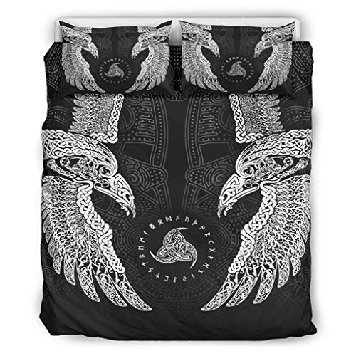 NiTIAN The Twin Ravens In Norse Mythology,Viking,Huginn and Muninn,Odin Chic Design Bedding Set Bettbezug Set Super Soft Breathable Einzelbett Bettwäsche Sets für Kinder Jungen White 168x229cm