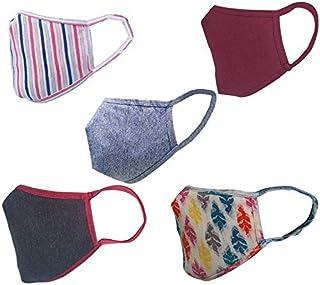 Cotton Cloth pack of 15 Face Mask Washable Reusable Face Masks Soft Earloop/Mouth Nose Cover face masks Men Women Kids Unisex(Multicolour Stripe,black maroon,Leaf print,dark blue & Maroon )