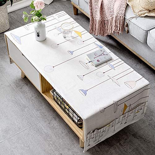 LYDCX Mesa De Centro Moderna Simple Mantel Sala De Estar Rectangular TV Gabinete Paño Tela Algodón Blanco 60X160Cm