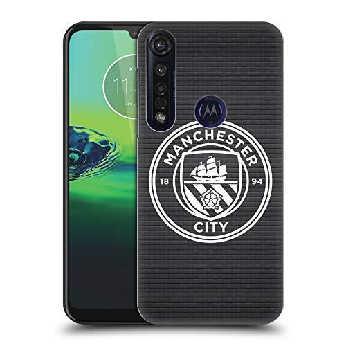 Officiële Manchester City Man City FC Zwarte Tegel Wit Mono Badge Pixels Hard Back Case Compatibel voor Motorola Moto G8 Plus