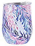 Lilly Pulitzer Stainless Steel Wine Glass with Lid, Holds 12 Ounces (Kaleidoscope Coral)