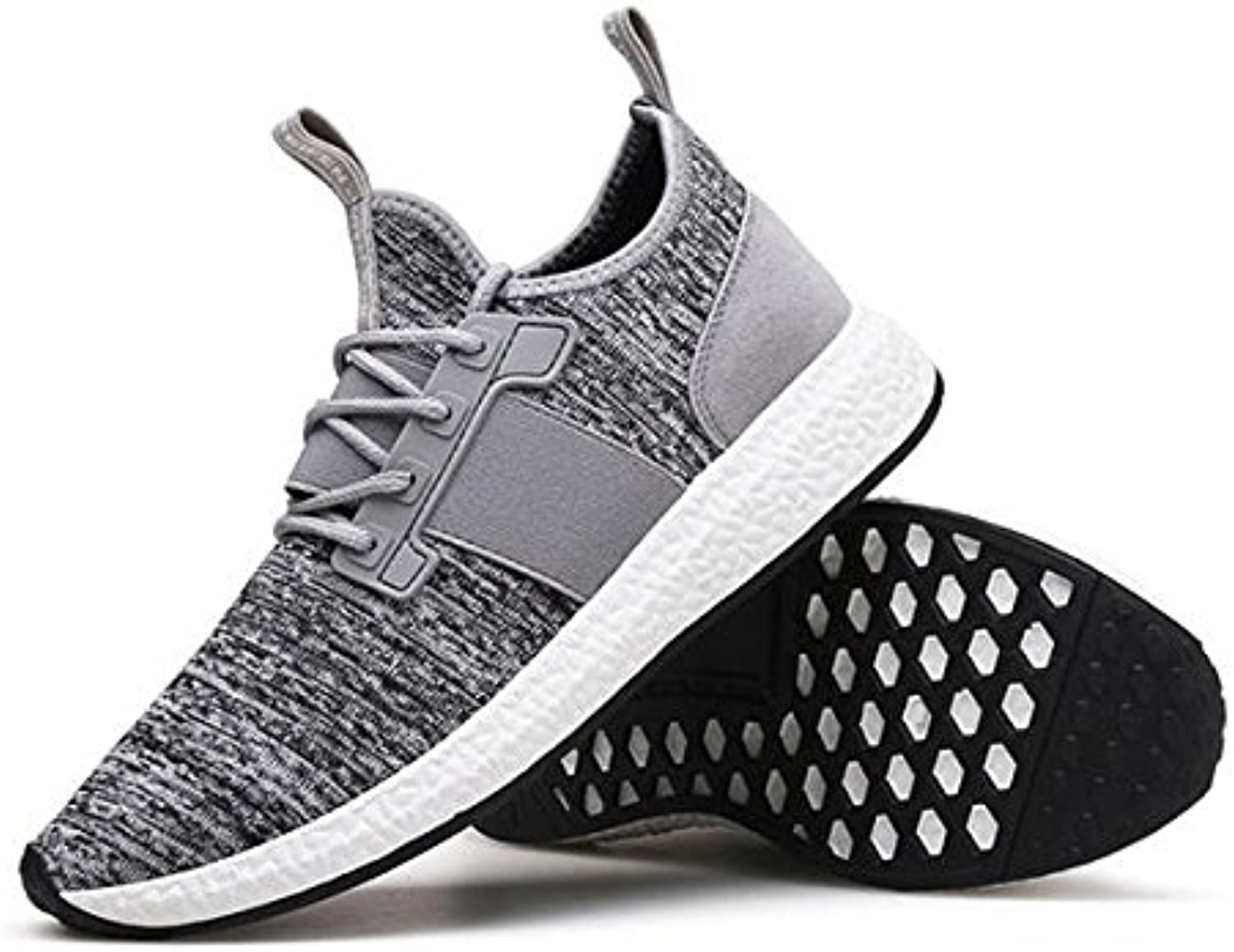 Otado Outdoors Clothing & shoes - Men Korean Flying Woven Sneakers Breathable Light Increasing Height Running shoes - (Size(US)  7.5, color  Grey)