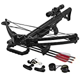XtremepowerUS Outdoor Hunter Sniper Crossbow 165 Lbs 380 fps Hunting Quiver Rope Cocking 4x33 Scope 3X Carbon Arrows Set