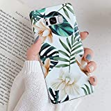 PHEZEN Case for Galaxy S8 Plus Case for Women Girls,Green Leaves White Flowers Pattern Ultra Thin Shockproof Silicone Phone Case Flexible Soft TPU Full-Body Protective Cover Case for Galaxy S8 Plus
