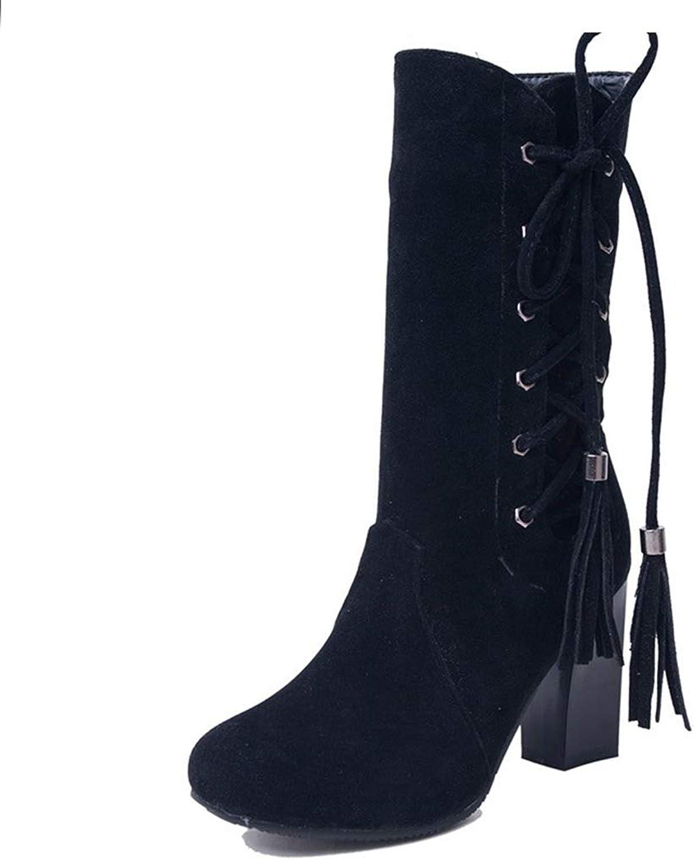 ASO-SLING Women's Closed Round Toe Chunky Block Heel Mid Calf Boots Fashion Cross-Tied Fringe Zipper