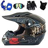 QYTK VOMI Casco de Moto Cross con Gafas Guantes Mascarilla, Casco de Motocross de Enduro de Downhill Casco Completo para Bicicleta de Montaña Dot Homologado Casco Moto Seguridad,Monster,S