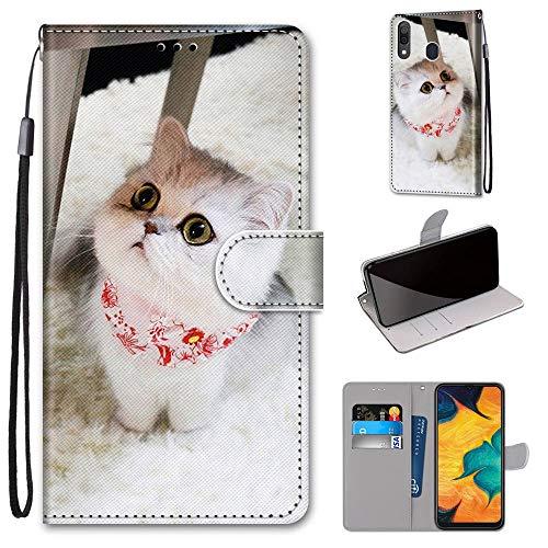Miagon Flip PU Leder Schutzhülle für Samsung Galaxy A20/30,Bunt Muster Hülle Brieftasche Case Cover Ständer mit Kartenfächer Trageschlaufe,Schal Katze