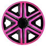 NRM Radkappen Action, Pink-Schwarz 15' Zoll. (4 x Universal Radzierblenden/Radkappen)