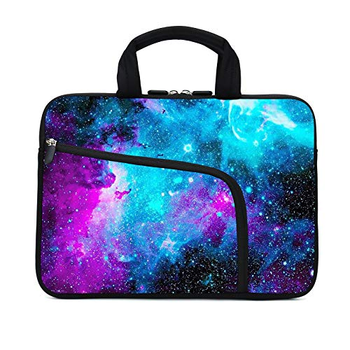 11.6 12 12.1 Inch Laptop Sleeve Carrying Bag Protective Case Neoprene Sleeve Tote Tablet Cover Notebook Briefcase Bag with Handle Extra Pockets for Women Men(Galaxy,12')