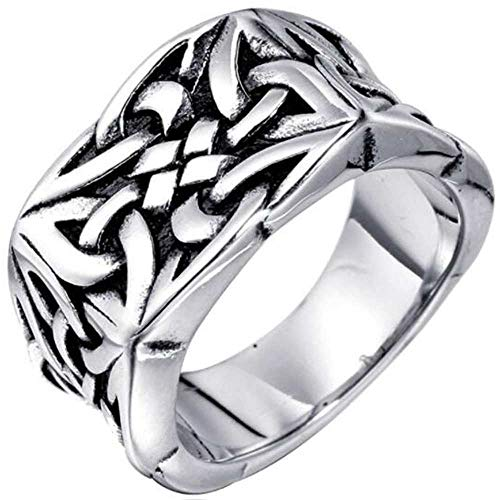 Stainless Steel Celtic Knot Signet Style Anniversary Statement Biker Ring (Silver, 15)