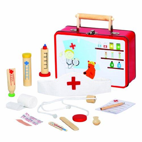 Bino & Mertens 83529 , Große Arztkoffer mit viel Zubehör aus Holz , 13 Teile , Für Kinder ab 3 Jahren