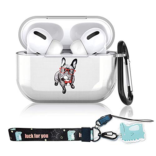 French Bulldog AirPods Pro Case Clear Soft Rubber TPU Full Protective Cover Skin Compatible with AirPods 3 Charging Case