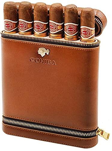 N\C Boîte à cigares Étui à Cigarettes Sac de Voyage Portable en Cuir doublé de Bois de cèdre avec humidificateur Boîte à Tabac