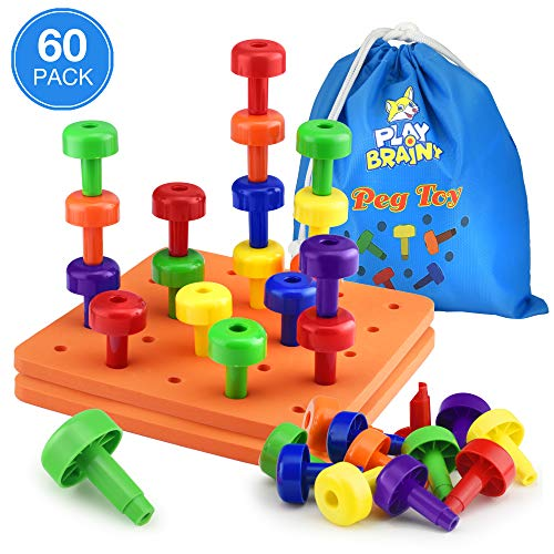 Play Brainy Peg Toy Set – Exciting Montessori Learnng Toy – 2 Colorful Stacking Peg Boards Toy for Toddlers & Preschoolers – Perfect for Color Recognition & Matching – Comes with 60 Stacking Pegs
