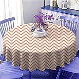 Geométrico Cocina Mesa Mesa redonda Chevron Waves Líneas Herringbone Diseño Pastel Zigzag Rayas Patrón Vintage Limpieza Rápida Diámetro 43' Crema Coral