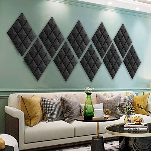 "12 Pack - Acoustic Foam Panels, 2"" X 12"" X 12"" Mushroom Studio Wedge Tiles, Sound Panels wedges Soundproof Sound Insulation Absorbing, 9 Block Mushroom Design"