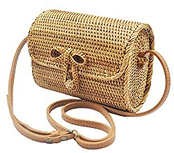 Túi xách nữ Rattan bags for women, rattan purse, round rattan bags, summer handbags for women, bamboo bags for women, handmade rattan bags, crossbody bags (Strap – Adjustable length) (Amazon)