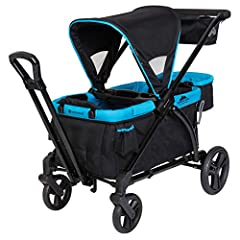 """Hideaway pull handle easily allows the expedition stroller wagon to transform from """"push"""" A stroller to """"pull"""" A wagon mode Includes Seat2Mat: extra cushion that can transform into a lie down mat Flip over basket can be used at the front or Back of w..."""