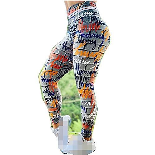 Leggings Cintura Alta Para Mujer,Leggings De Yoga, Mallas De Entrenamiento De Cintura Alta, Dibujo Callejero, Estampado Multicolor, Opaco, Leggings De Yoga, Leggings De Yoga Elásticos Clásicos Par