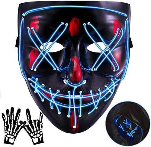 Halloween Mask Fresno Mall LED EL Wire Light Up Festival Ha for Brand Cheap Sale Venue Cosplay
