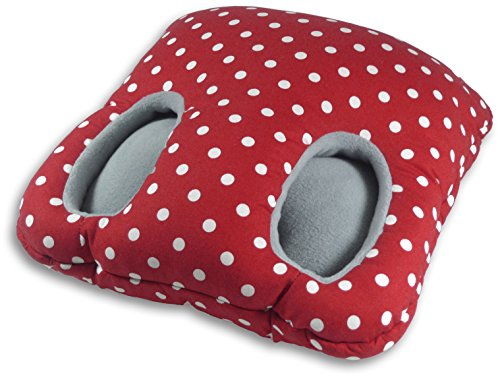 Leschi | Cojín calientapiés (mantiene los pies calientes) | 36855 | Square | Color: Rojo con lunares/Niebla